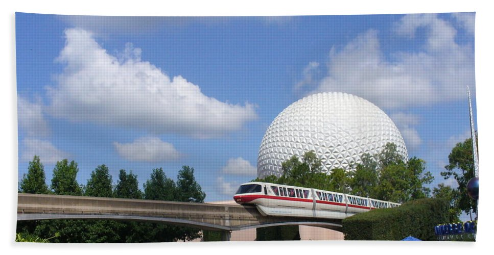 Epcot Centre Theme Park Bath Sheet featuring the photograph Epcot And The Monorail Ride by Lingfai Leung