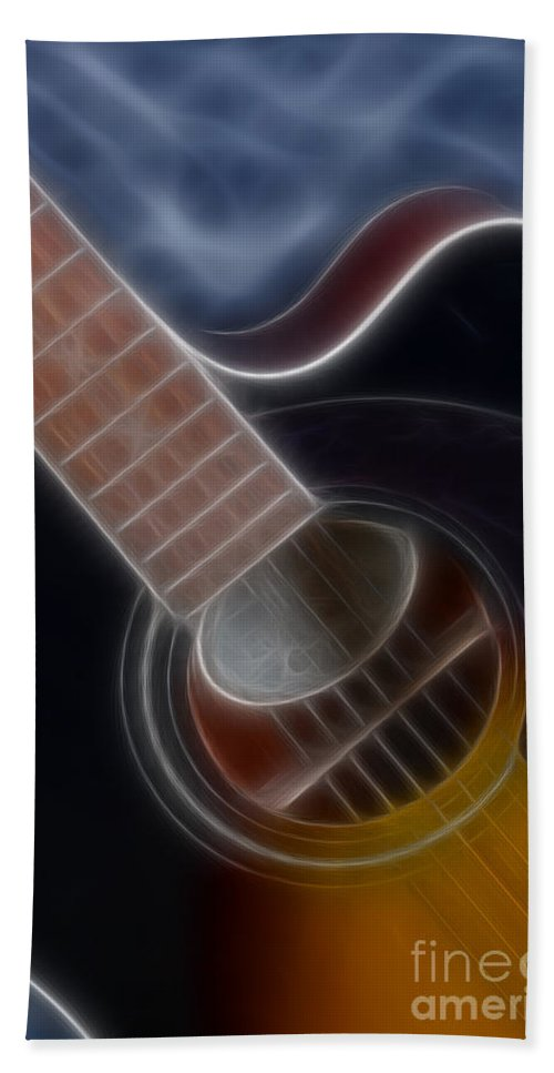 Epiphone Acoustic Guitar Bath Sheet featuring the photograph Epiphone Acoustic-9481-fractal by Gary Gingrich Galleries