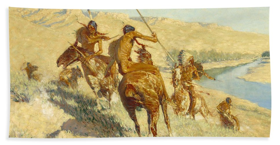 Frederic Remington Bath Sheet featuring the painting Episode Of The Buffalo Gun by Frederic Remington