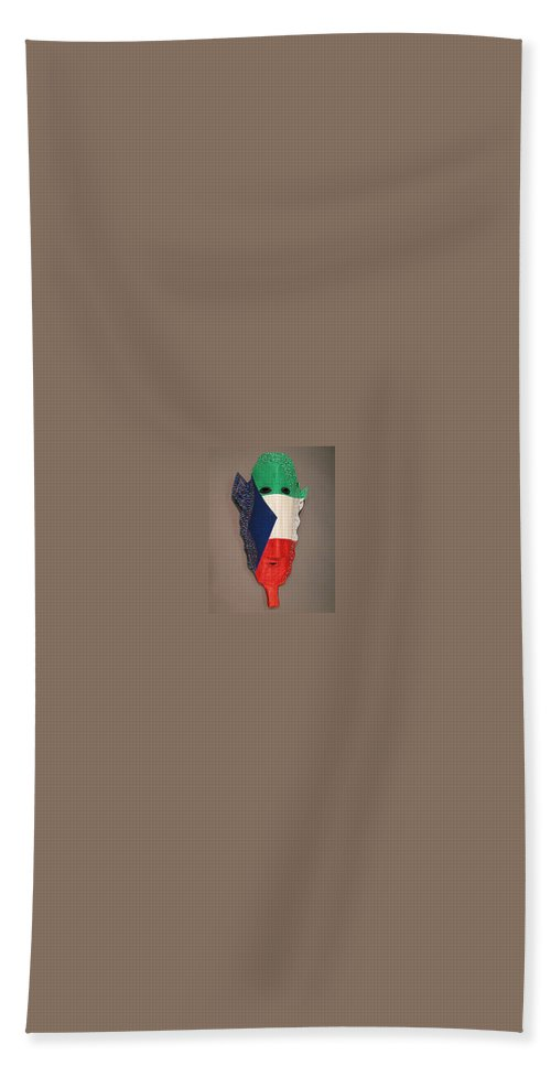 Mask Bath Sheet featuring the sculpture Equatorial Guinea by Moshood Salu