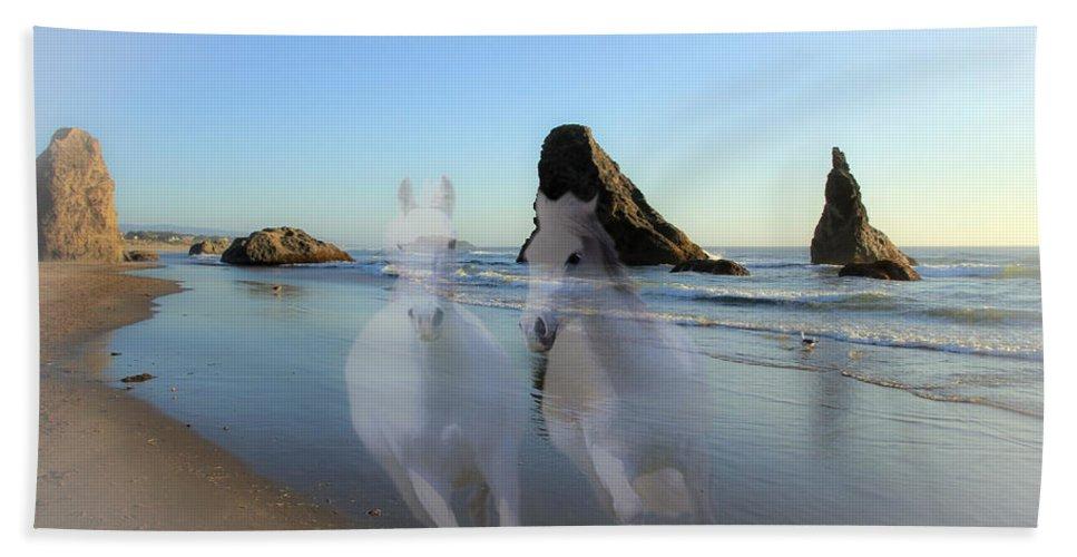 Horses Bath Sheet featuring the photograph Equine Beach II by Athena Mckinzie