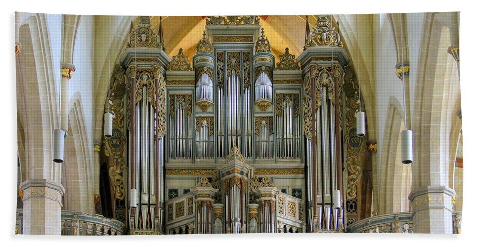 Organ Bath Sheet featuring the photograph Erfurt Pipe Organ by Jenny Setchell
