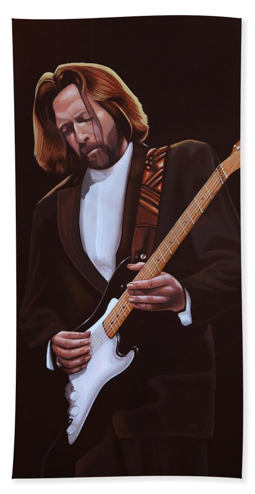 Eric Clapton Hand Towel featuring the painting Eric Clapton Painting by Paul Meijering