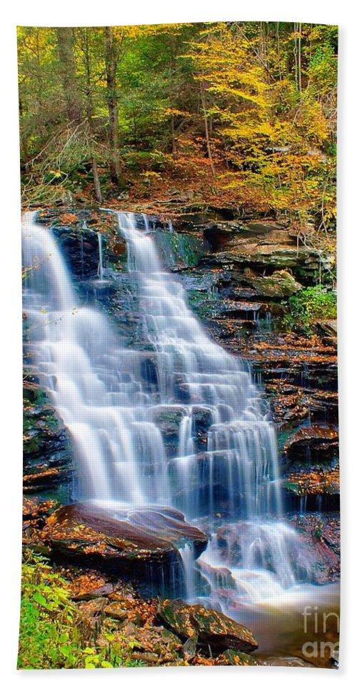 Waterfall Bath Sheet featuring the photograph Erie Falls by Nick Zelinsky