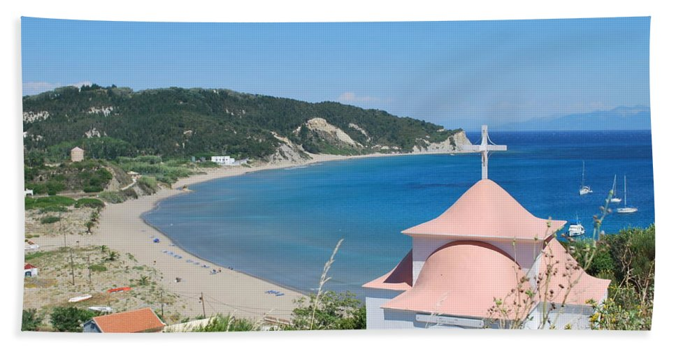 Erikousa Beach Bath Sheet featuring the photograph Erikousa Beach by George Katechis