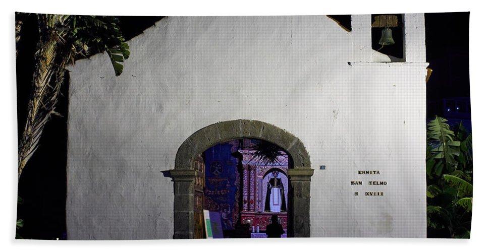 Atlantic Ocean Bath Sheet featuring the photograph Ermita San Telmo. Puerto De La Cruz By Night by Jouko Lehto