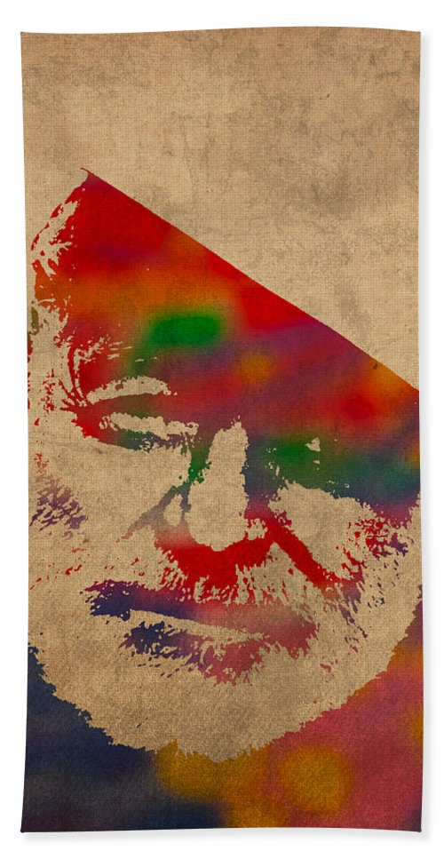 Ernest Hemingway Watercolor Portrait On Worn Distressed Canvas Bath Towel featuring the mixed media Ernest Hemingway Watercolor Portrait On Worn Distressed Canvas by Design Turnpike