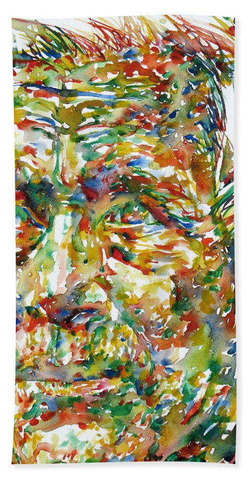 Ernst Bath Sheet featuring the painting Ernst Junger Watercolor Portrait by Fabrizio Cassetta
