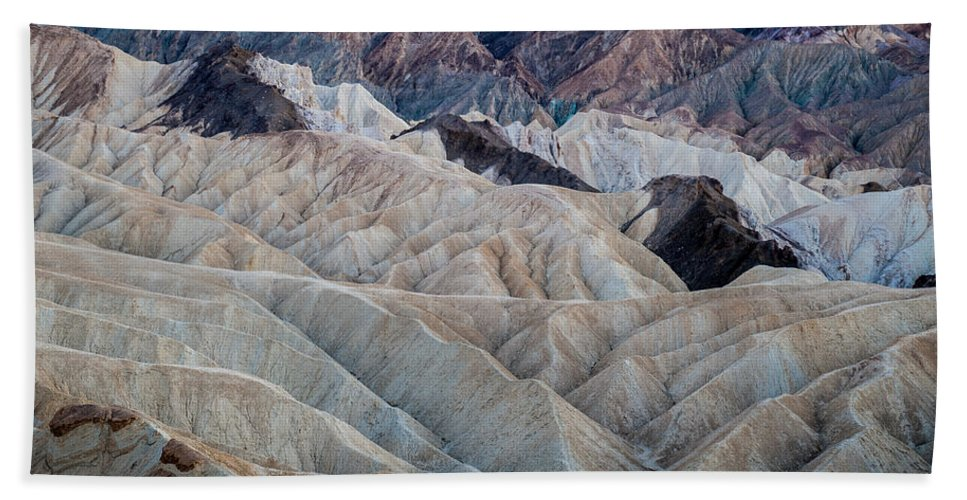 Death Valley Hand Towel featuring the photograph Erosional Landscape - Zabriskie Point by George Buxbaum