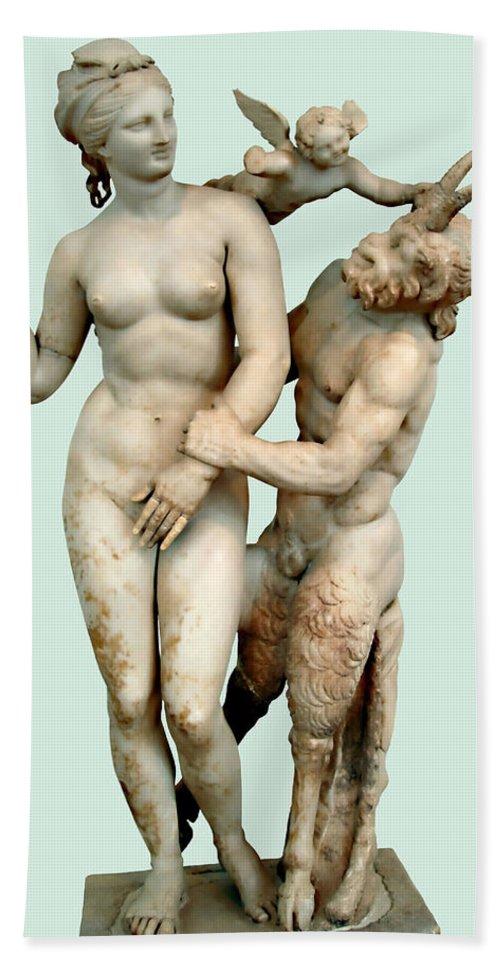 Aphrodite Bath Towel featuring the photograph Aphrodite, Pan And Eros by Ellen Henneke