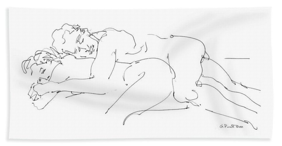Erotic Renderings Bath Towel featuring the drawing Erotic Art Drawings 2 by Gordon Punt