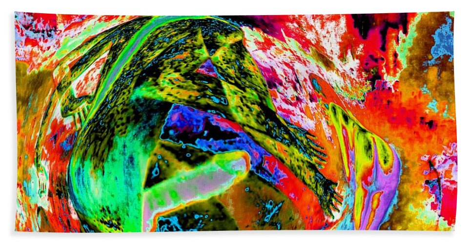 Enio Bath Sheet featuring the mixed media Erotic Rock 'n' Roll by Genio GgXpress
