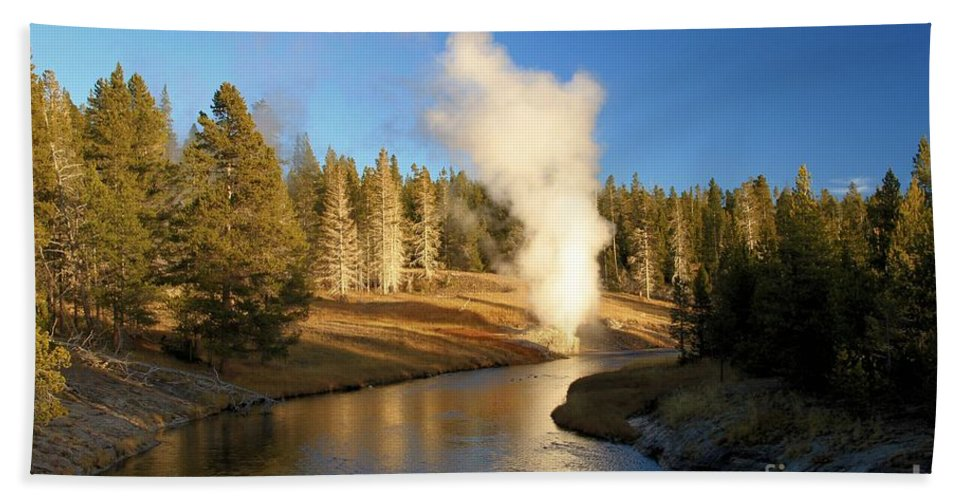 Riverside Geyser Hand Towel featuring the photograph Eruption Along The Riverside by Adam Jewell