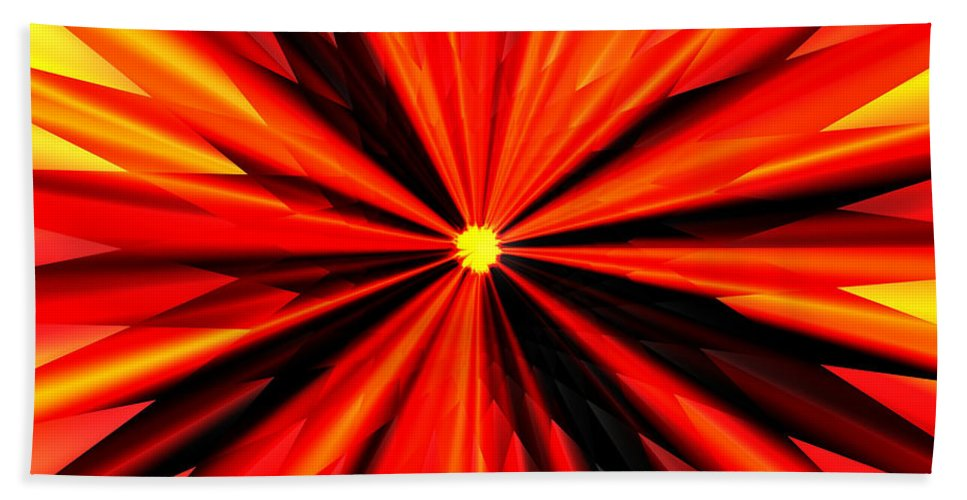 Eruption Bath Sheet featuring the digital art Eruption in Red by Eric Nagel