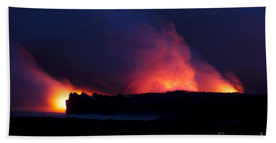 Hawaii Bath Sheet featuring the photograph Eruption In The Night by Bob Phillips