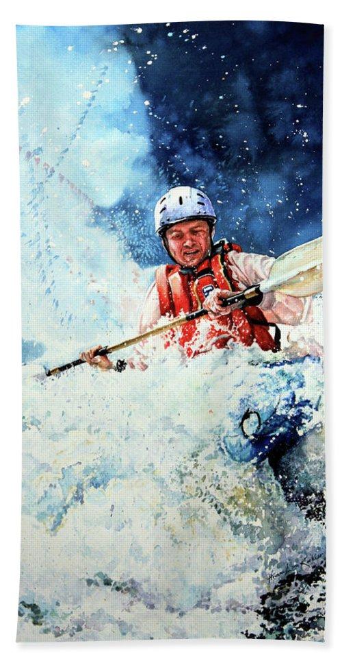 Kayak Bath Sheet featuring the painting Eskimo Rolls by Hanne Lore Koehler