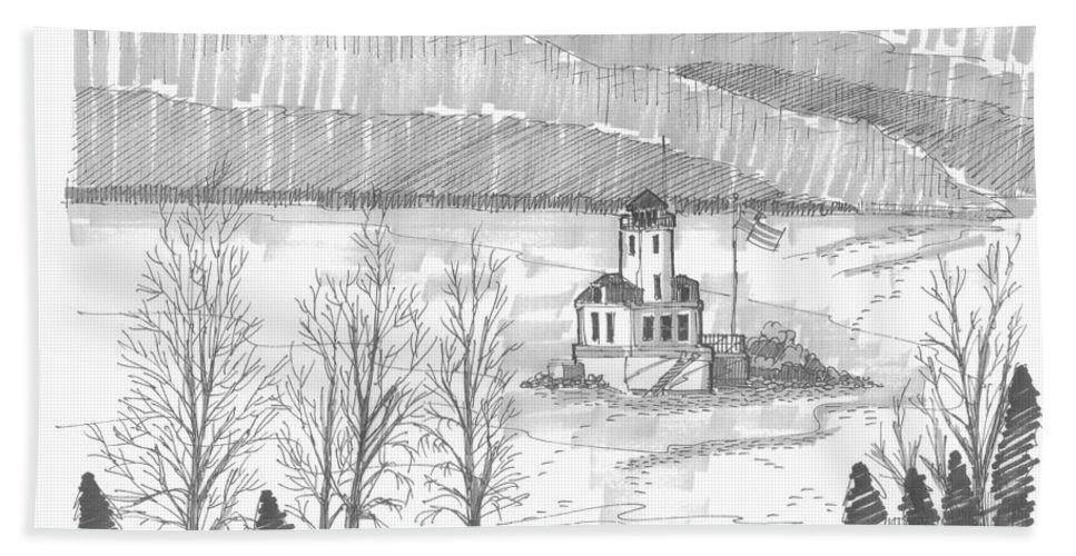 Lighthouse Hand Towel featuring the drawing Esopus Lighthouse by Richard Wambach