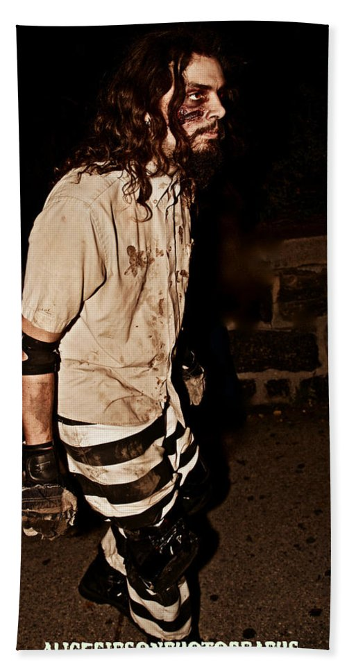 Esp Eastern State Penitentiary Zombie Prisoner Halloween Bath Sheet featuring the photograph Esp Escaped Prisoner Zombie by Alice Gipson