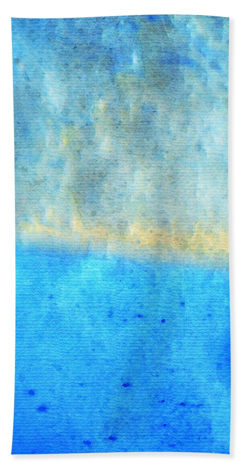 Water Hand Towel featuring the painting Eternal Blue - Blue Abstract Art By Sharon Cummings by Sharon Cummings