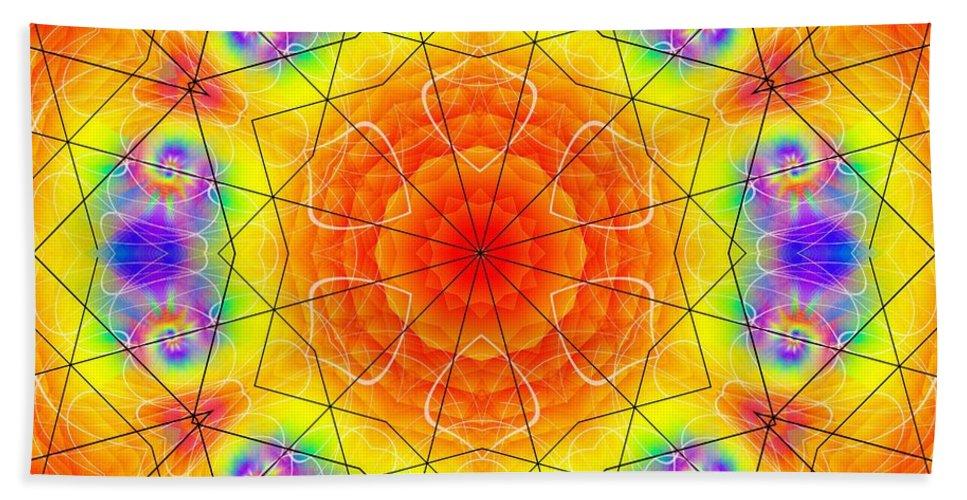 Eternal Starfire Bath Sheet featuring the digital art Eternal Starfire by Derek Gedney