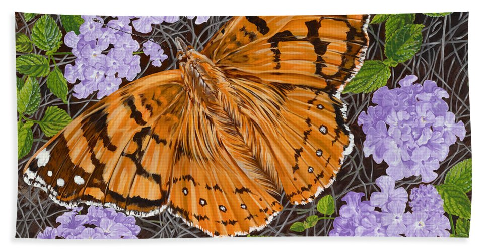 Monarch Butterfly Hand Towel featuring the painting Ethel Mae by John Wilson