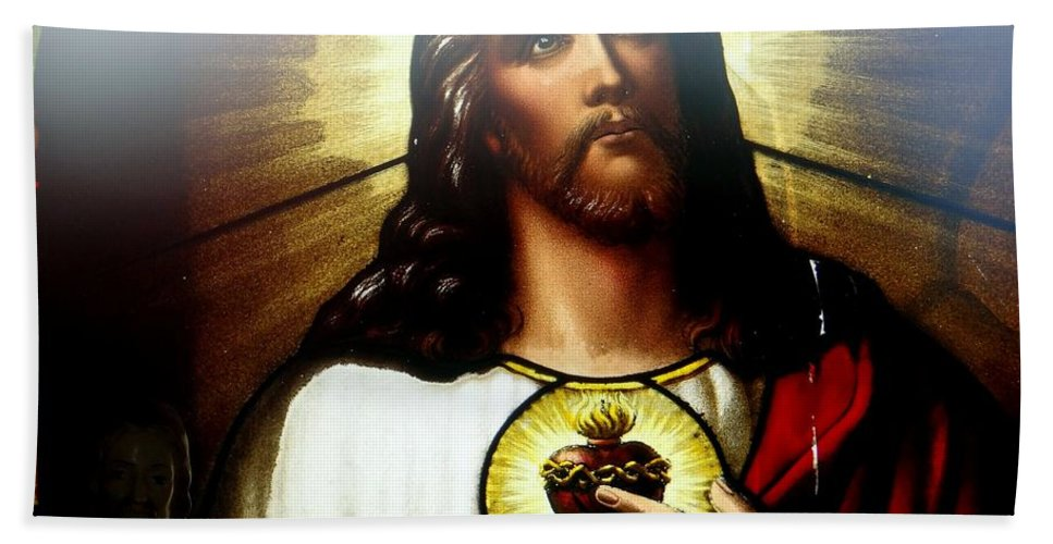 Stained Glass Bath Sheet featuring the photograph Ethereal Jesus by Ed Weidman