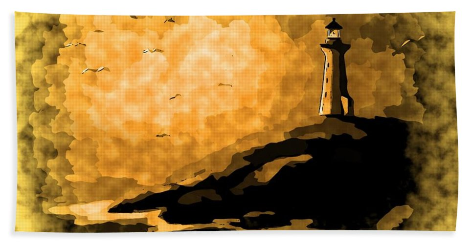 Ethereal Lighthouse Hand Towel featuring the painting Ethereal Lighthouse by John Malone