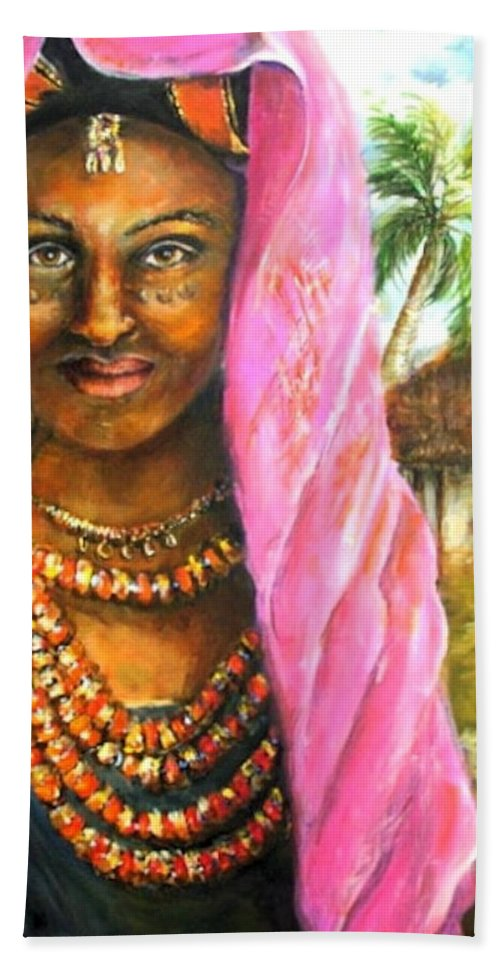 Ethiopia Bride Bath Sheet featuring the painting Ethiopia Bride by Bernadette Krupa