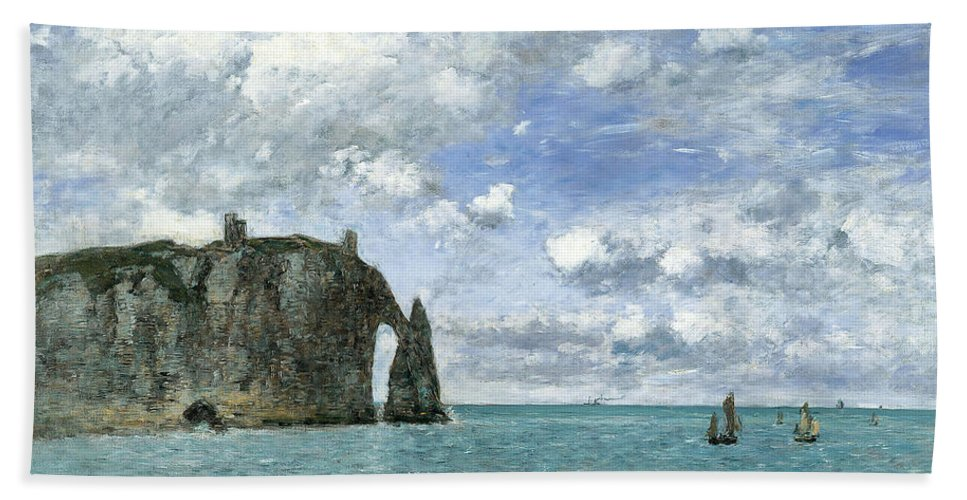 Eugene Boudin Bath Sheet featuring the painting Etretat. The Cliff Of Aval by Eugene Boudin