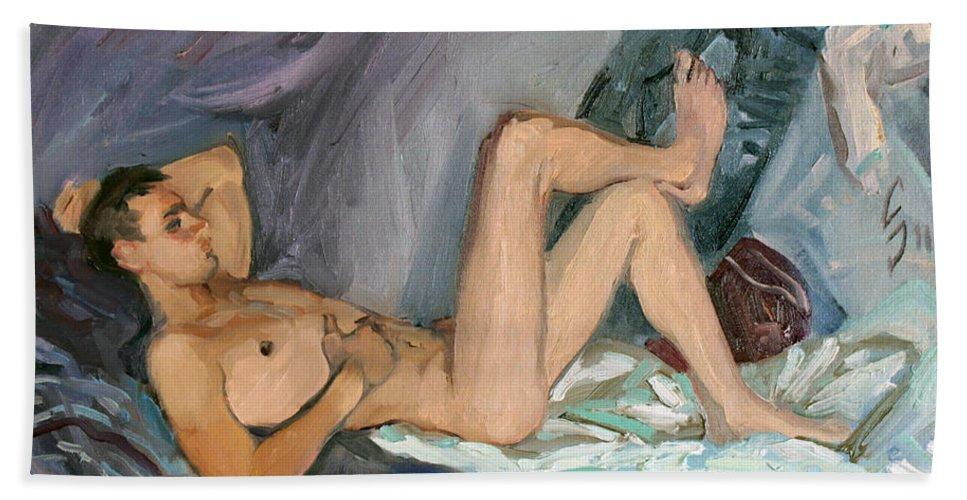 Man Bath Sheet featuring the painting Etude 100 by Sergey Sovkov