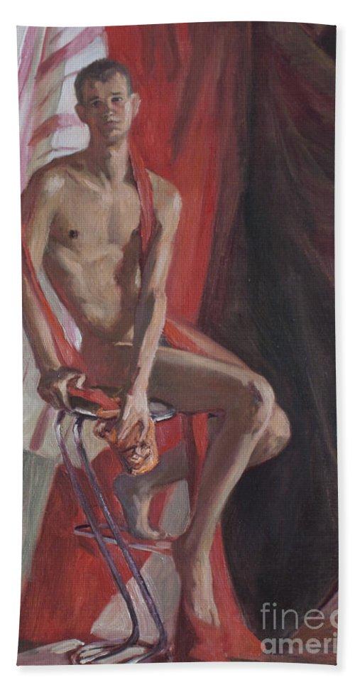 Man Bath Sheet featuring the painting Etude 101 by Sergey Sovkov