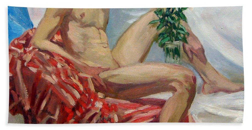 Man Bath Sheet featuring the painting Etude 91 by Sergey Sovkov