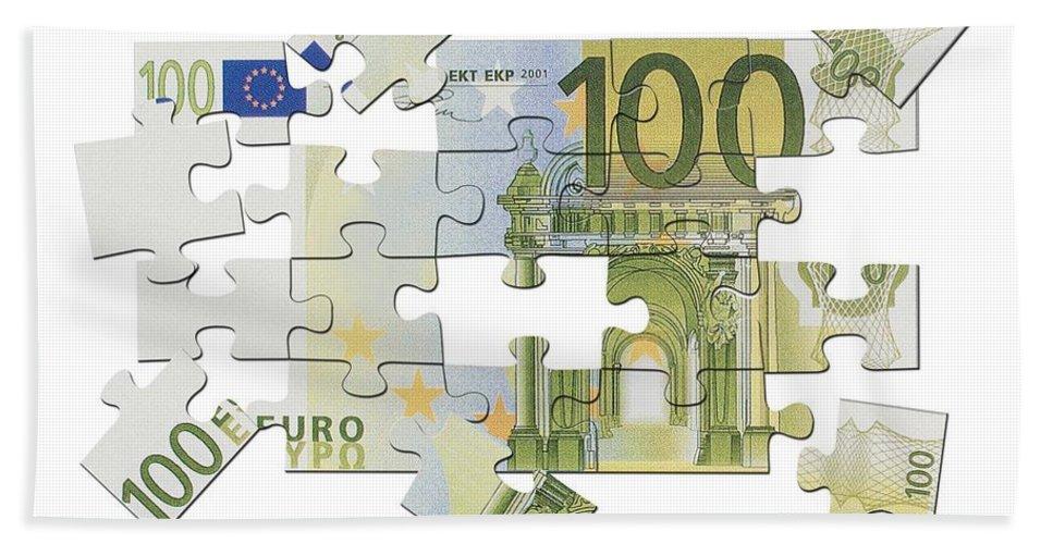 Euro Hand Towel featuring the digital art Euro Puzzle by Chris Van Es