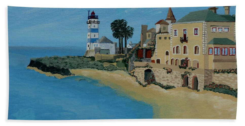 Lighthouse Hand Towel featuring the painting European Lighthouse by Anthony Dunphy