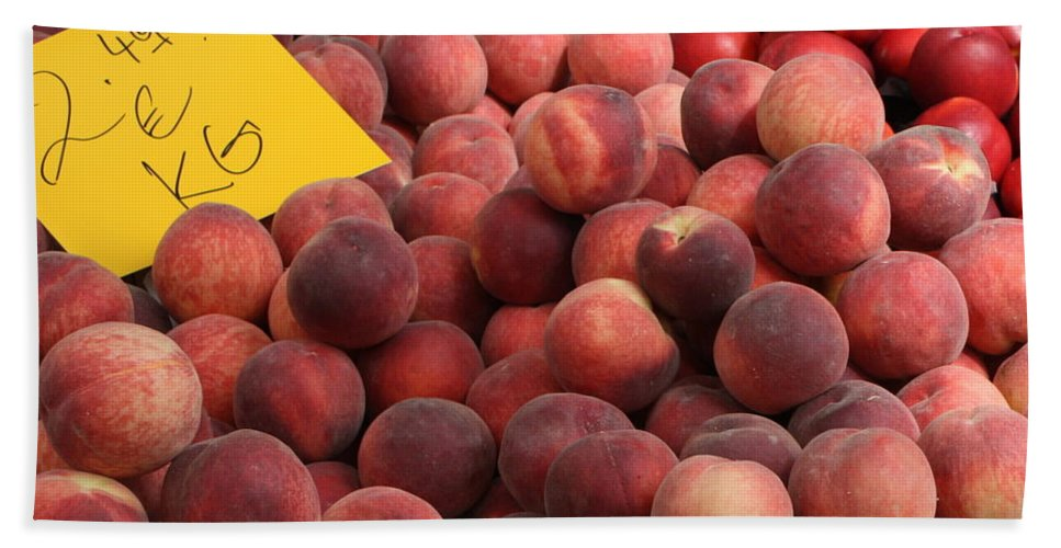 Peaches Hand Towel featuring the photograph European Markets - Peaches And Nectarines by Carol Groenen