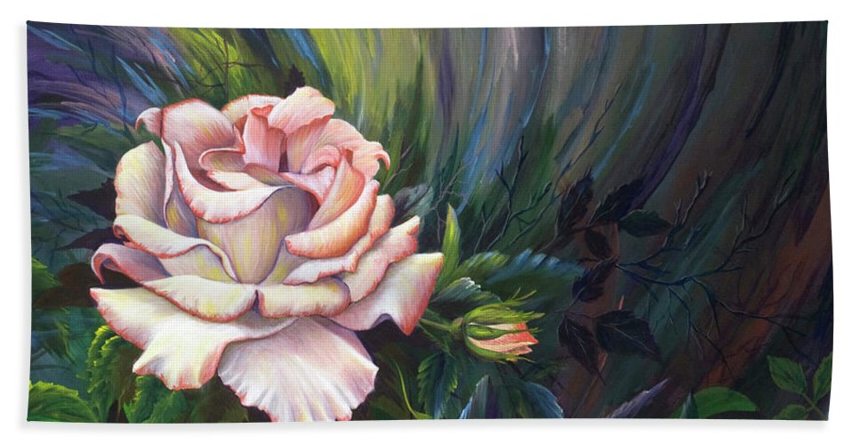 Rose Bath Sheet featuring the painting Evangel Of Hope by Nancy Cupp