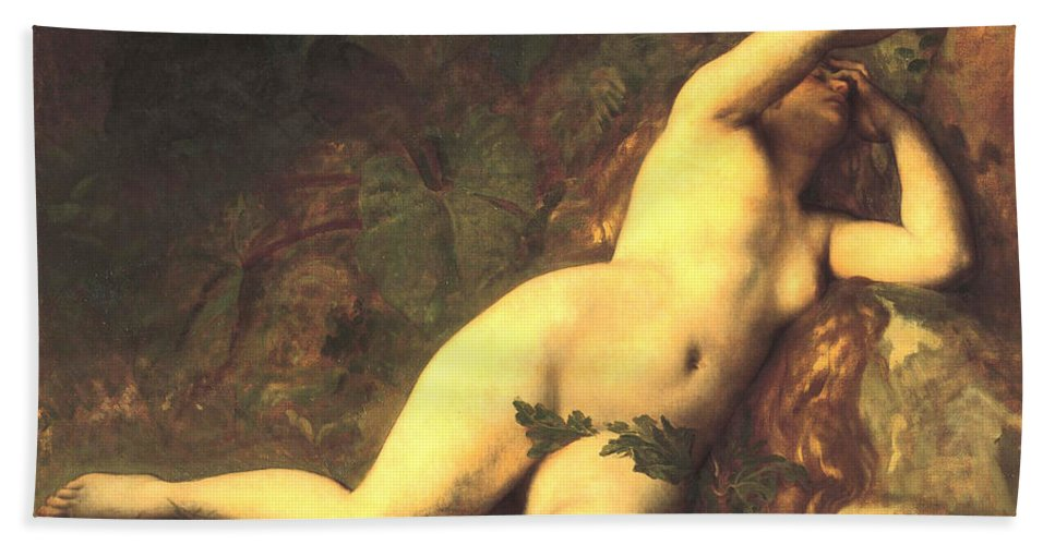 Alexandre Cabanel Hand Towel featuring the digital art Eve After The Fall by Alexandre Cabanel