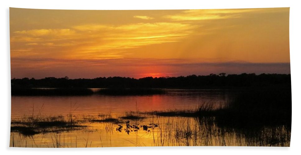 Sunset Bath Sheet featuring the photograph Evening At The Lake by Zina Stromberg
