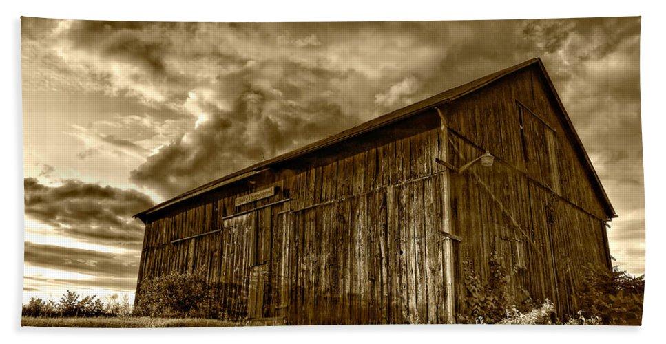 Rural Bath Sheet featuring the photograph Evening Barn Sepia by Steve Harrington
