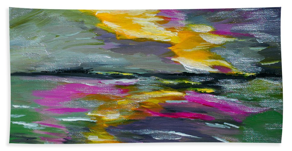 Bold Abstract Hand Towel featuring the painting Evening Colors by Donna Blackhall