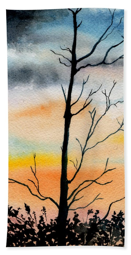 Watercolor Hand Towel featuring the painting Evening Comes by Brenda Owen