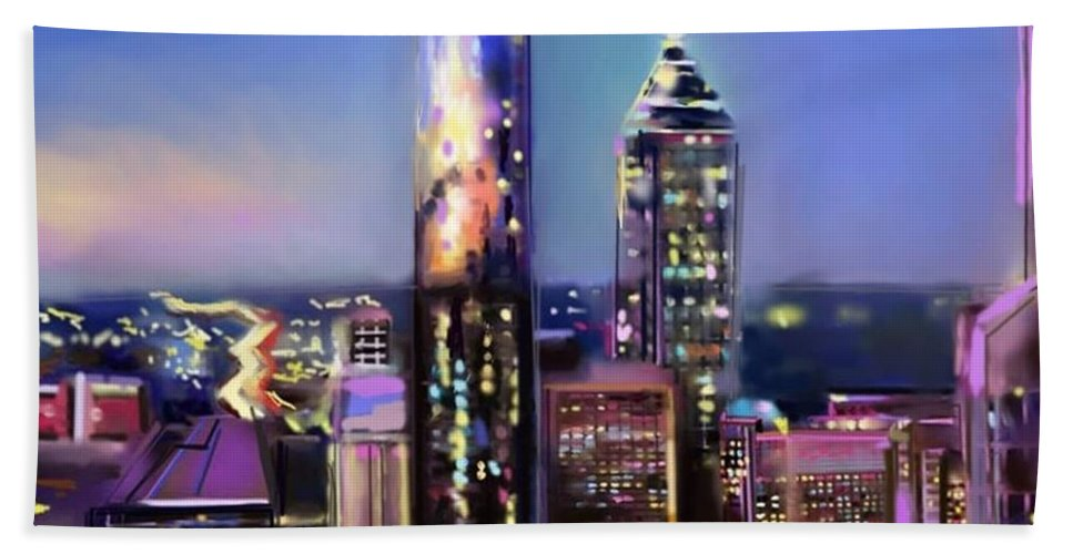 Hand Towel featuring the painting Evening In Atlanta Edge Side by Mark Givens