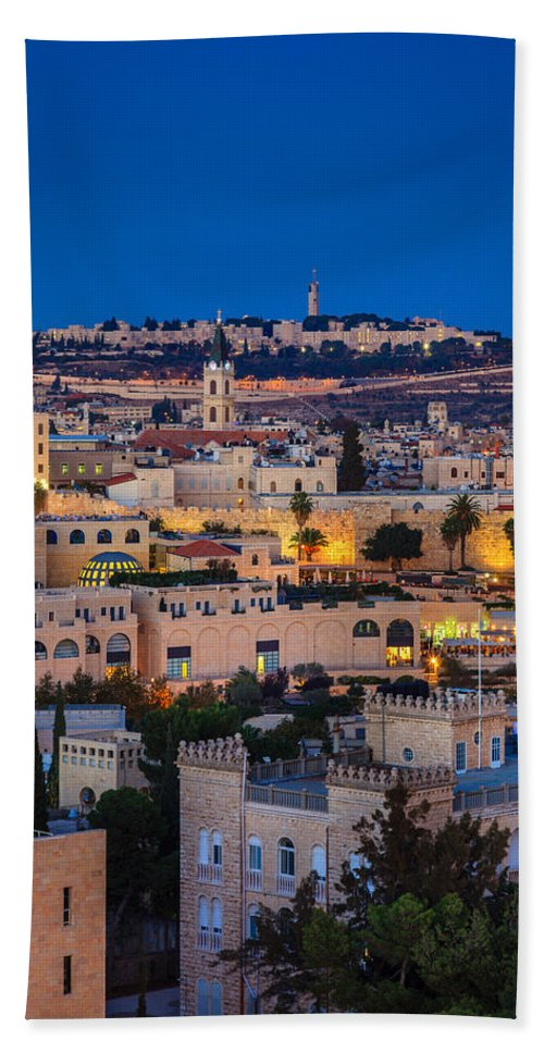 Hebrew University Bath Sheet featuring the photograph Evening In Jerusalem by Alexey Stiop