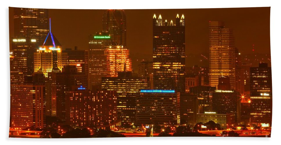 Pittsburgh Pennsylvania Bath Sheet featuring the photograph Evening In The City Of Champions by Adam Jewell