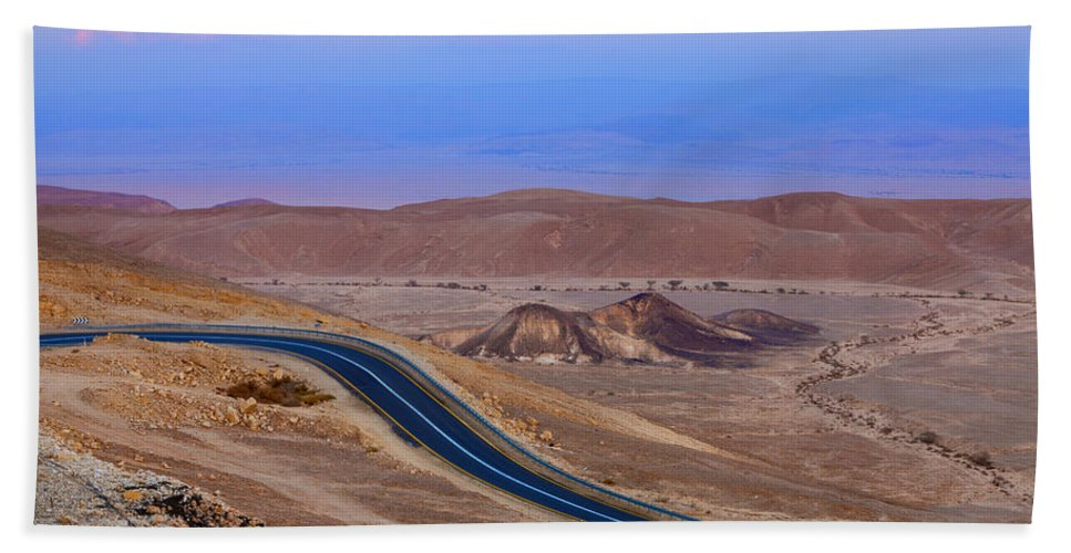 Road Bath Sheet featuring the photograph Evening In The Desert by Alexey Stiop
