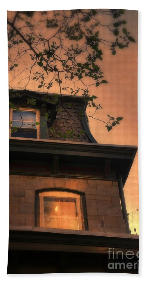 Window Hand Towel featuring the photograph Evening Light On Old House by Jill Battaglia