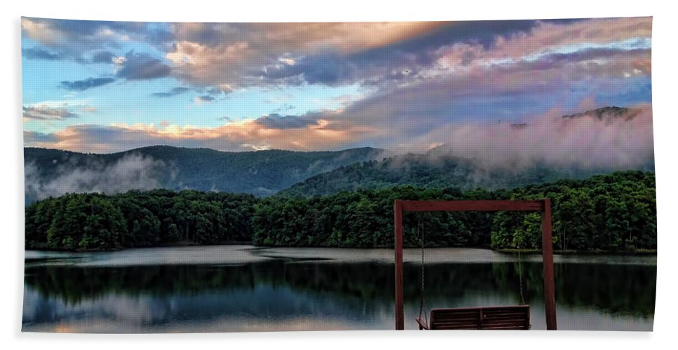 Beautiful Skies Bath Sheet featuring the photograph Evening Mist In August Over Lake Tamarack by Jennifer Stackpole