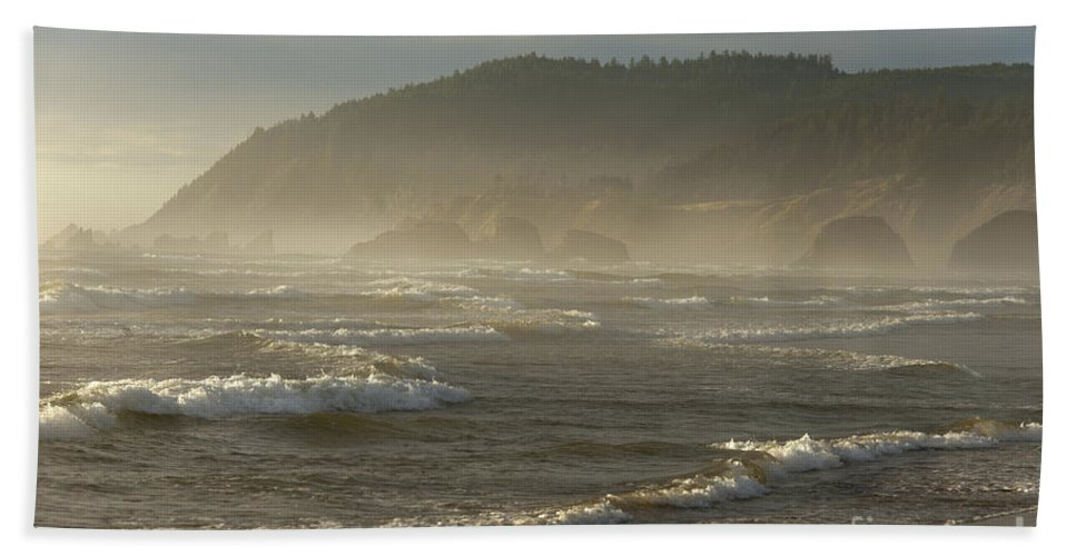 Waterscape Hand Towel featuring the photograph Evening Mist Over Ecola State Park by Sandra Bronstein