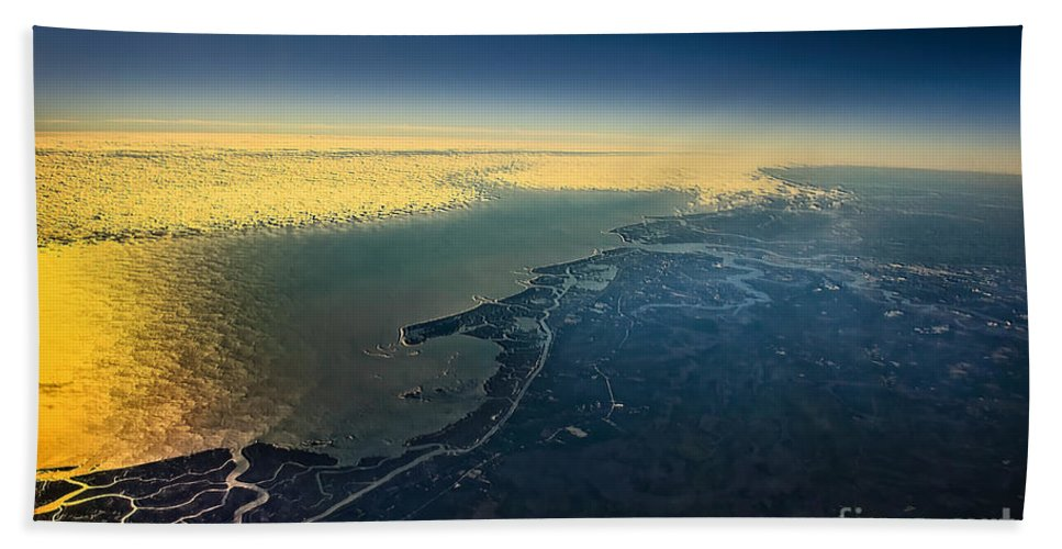 Seascape Bath Sheet featuring the photograph Evening Ocean Shore From The Airplane Window by Viktor Birkus