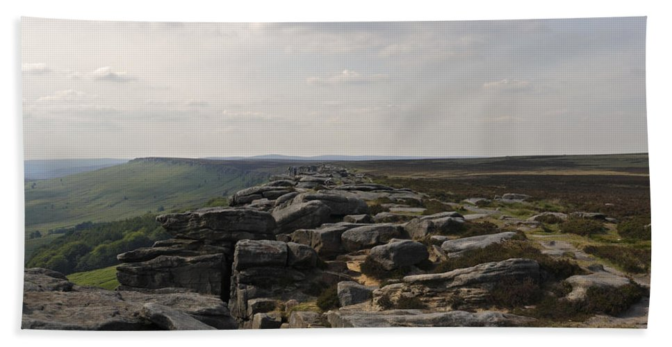 Landscape Bath Sheet featuring the photograph Evening On Stanage Edge by Kevin Round